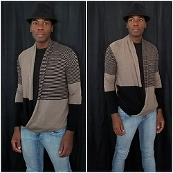 Thomas G - Max Studio Striped Wrap Front Sweater, Faded Glory Fedora, Hydraulic Extreme Slim Nikki, Perry Ellis Shirt - Striped Wrap Front Sweater