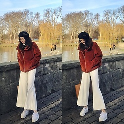 Gaye Yan - Topshop Puffer Coat, Mango Wide Leg Trousers, Superga Sneakers - Sunny day🌞