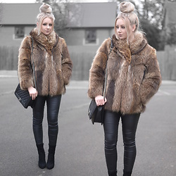 Sammi Jackson - Asos Faux Fur Coat, Oasap Quilted Flap Bag, Primark Satin Jeans, Everything5pounds Perspex Heel Sock Boots - BROWN FUR COAT