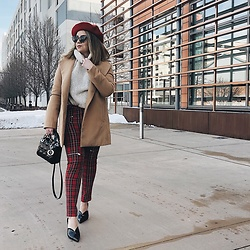 Bernadette - Mango Chunky Knit Turtleneck In Cream, Mango Plaid Zip Up Pants, Jeffrey Campbell Shoes Black Patent Mules - Plaid pants ftw