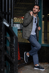 Hector Diaz - Divided Olive Green Parka, J. Crew Navy Striped Shirt, Jeremiah Clothing Weatherproof Pants, Adidas Black Suede Sneakers - Seattle Freeze