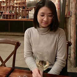 Jenny Hou - Ollie Quinn Glasses, Uniqlo Turtleneck - Wine night