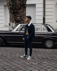 Kevin Elezaj - Converse Sneakers, Minimum Pants, Tiger Of Sweden Belt, J. Crew Sweater, Sandro Jacket - Navy