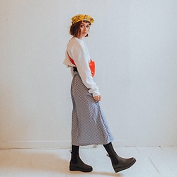 Grace Chapek - Jeffrey Campbell Shoes Thigh High Boots, Guess Plaid Beret - Polka Dots + Primary Colors