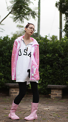 Jennifer Hankin - Pink Raincoat, Sweater Dress, Unicorn Gumboots - Festival Essentials