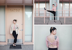 Dana Nguyen - Unif Jacket, Forever 21 Leggings, Urban Outfitters Flats, Forever 21 Crop Top - Mint x Mauve