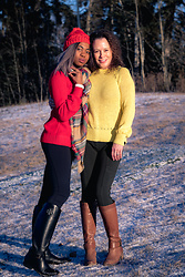 Louisa Moje - Pom Pom Beanie (Similar), Yellow Pullover Sweater (Similar), Red Cable Knit Sweater (Similar), Oversized Blanket Scarf, Fitted Pants (Similar), Zella Leggings (Exact), Tory Burch Riding Boots (Exact), Tan Knee High Boots (Similar) - Pullover Knitwear Sweater + Top-Rated Zella Leggings