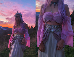 Sera Brand - Stardust Bohemian Serenity Bandeau In Petal Pink, Wild And Free Jewelry Mermaid Crown - Rainbow Skies