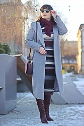 Moda_i_takie_tam - Zaful Grey Coat, Rayban Clubmaster Sunglasses, H&M Stripes Dress, By Jemioł Burgundy Bag, Zara Burgundy Leather Boots - WInter's tale