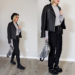 Fruitdandy - Dr. Martens Sandals, Supreme Fanny, Uniqlo Pleather Jacket, The Ragged Priest Tee - Forgot to cuff