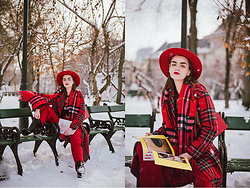 Andreea Birsan - Red Fedora Hat, Round Glasses, Red Leather Shoulder Bag, Red Tartan Coat, Black Graphic T Shirt, Red Wide Leg Trousers, Red Scarf, Black Leather Boots - Red