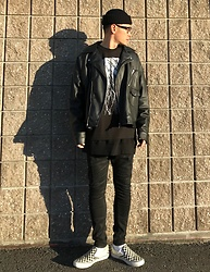 ★masaki★ - Zara Oversized Riders Jacket, Jesse Draxler Art Tee, R13 Denim Jeans, Vans Sneakers - Black & White