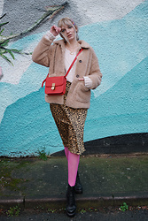 Carla V - Shein Teddy Coat, Shein Satin Skirt, Office Atomize Boots, H&M Cable Knit Jumper - Grungy Vibes