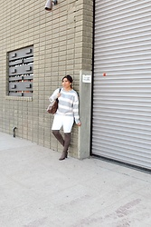 Lina Lemus - Forever21 Striped Sweater, Asos White Jeans - Grey
