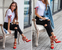 Jenny M - Shein Ribbons Embellished Tee, Zara Red Suede Strappy Pumps, H&M Ripped Denim Jacket - LIKE ONE OF YOUR FRENCH GIRLS // thehungarianbrunette.com