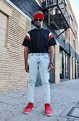Vernon M. - Chicago Bulls Beanie, Thrifted Jersey Shirt Jacket, Zara Jeans - Stripes