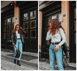 Theoni Argyropoulou - Pull & Bear Faux Leather Jacket, Zaful Ribbed Pullover, Stradivarius Belt, Mango Jeans, Bag, Western Boots - One pair of jeans-two looks on somethingvogue.com