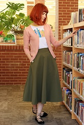 Bleu Avenue Ofbleuavenue - Modcloth Wants And Reads Book Tee, Chic Wish Classic Simplicity Skirt In Olive, Mak Charter School Cardigan - Wants and Reads