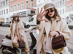 Andreea Birsan - Beige Teddy Bear Coat, Beige Baker Boy Hat, Small Cat Eye Sunglasses, White T Shirt, Beige Cashmere Turtleneck Sweater, Beige Cargo Trousers, Burgundy Bag, White Leather Combat Boots - The effortless way to wear cargo trousers