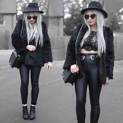 Sammi Jackson - Primark Black Fedora, Zaful Sunglasses, Shein Faux Fur Coat, Chickaberry Boutique Ilsa Lace Top, Primark Lace Bralet, Asos Double Buckled Belt, Oasap Quilted Flap Bag, Topshop Satin Jeans, Office Chunky Ankle Boots - BLACK FUR, LACE & LEATHER