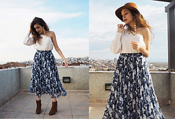 Eda G - Asos Hat, Zara Earring, Instagram Shop One Shoulder Top, Trendyol Floral Long Skirt, Bershka Brown Booties - This is From Mathilda | Room95
