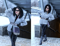 Panda Mone - Dkny Down Jacket, Just Cavalli Fringed Messenger Bag, Miu Sungalasses - ALUMINIUM.