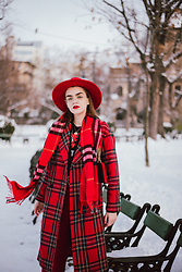 Andreea Birsan - Red Fedora Hat, Round Glasses, Red Checked Scarf, Red Tartan Coat, Black Printed T Shirt - R e d