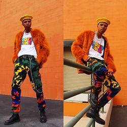 Dominic Grizzelle - Forever 21 Colorful Camo Cargos, Forever 21 Looney Tunes Tee, New County Faux Fur, Zara Military Boots - LOONEY GOONS