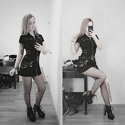 Joan Wolfie - Emp Dress, Jeffrey Campbell Boots - Metalhead