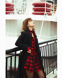 Olga Balbert - Femme Luxe Red Tartan Silk Shirt Dress - Red Tartan Dress