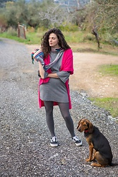 Sara Nena - Desigual Colourful Scarf, Vans Black Shoes, Ovs Houndstooth Dress - Fuchsia sweater