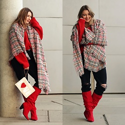 Ania K. [www.overdivity.com] - Sweater, Sweater, Jeans, Scarf - Cozy red sweater and tweed scarf