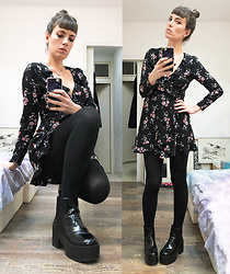 ♡Nelly Kitty♡ - H&M Floral Wrap Dress, H&M Platform Ankle Boots - OOTD#60