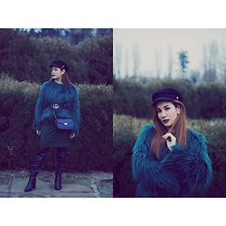 Roxana Ionescu - Local Store Faux Fur Jacket, H&M Dress, Local Store Boots, Mango Bag, Gucci Belt, Pull & Bear Hat - Blue, here's a song for you.