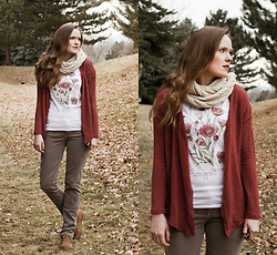 Emily S. - Etsy Botanical Graphic Tee, Adriano Goldschmied Corduroy Pants, Lucky Brand Desert Boots, American Eagle Outfitters Cardigan, Amazon Knit Scarf - Winter Botanicals