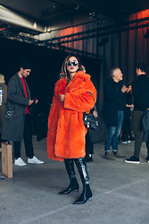 Louise Xin - Moschino Biker Bag, Fendi Heels, Msgm Orange Fur - Copenhagen Fashion Week FW19