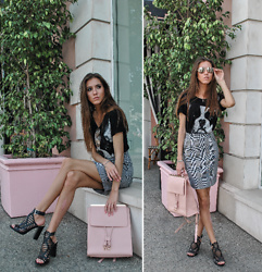 Jenny M - H&M Dog Tee, H&M Plaid Pencil Skirt, Zara Pink Leather Backpack, Kate Spade Aviator Sunglasses, Guess Black Leather Cutout Sandals - LUNCH BREAK // thehungarianbrunette.com