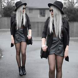 Sammi Jackson - Primark Black Fedora, Zaful Sunglasses, Wholesale 7 Black Coat, My Depop Mesh Bodysuit, Choies Pleather Skirt, Oasap Quilted Flap Bag, Office Boots - BLACK ON BLACK