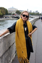 Anna Borisovna - Mango Scarf, Zara Dress - Black and Yellow