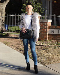 Raspberry Jam - Primark White Knit Sweater, Ebay Faux Fur Vest, Forever 21 Drop Earrings, Ymi Jeans, Gojane Kitten Heel Boots, Michael Kors Studded Bag - White Sweater with Grey Faux Fur Vest