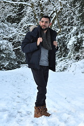 Hector Diaz - Andrew Marc Faux Fur Down Parka, Club Monaco Grey Rollneck Sweater, Club Monaco Black Wool Pants, H&M Infinity Scarf, Pajar Snow Boots - Emerald Snow
