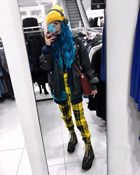 Kimi Peri - Love Too True Lydia Trousers, Koi Footwear Platform Boots, Vii & Co. Vegan Leather Jacket, Noisy May Patchwork Jacket, Donalovehair Blue Hair, H&M Yellow Beanie, Vintage Bag - In Your Own World