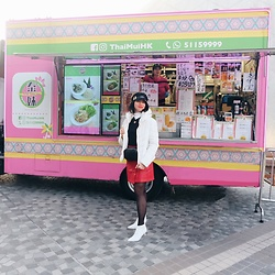 Cassey Cakes - Zara Puff Coat, Mango Boots, Mango Belt Bag, Mango Skirt - HK Food Truck