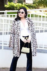 Kristen Tanabe - Twelve Faux Fur Leopard Coat, Topshop Long Sleeve V Neck Bodysuit, Kut From The Kloth Blue Velvet Pants, Vintage Gold Chain Belt, Vintage Gold Rhinestone Clutch, Gucci Sunglasses, Midori Linea Gold Necklaces - Mad Faux It