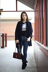 Kimberly Kong - Zara Graphic Tee, Madewell Navy Coat - How-to Develop Good Work Ethic