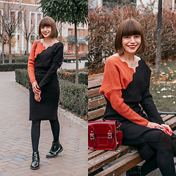 Christina & Karina Vartanovy - Chic Wish Two Color Contrast Wave Wrapped Knit Dress, The Leather Satchel Patent Oxblood Mini Bag, Asos Truffle Collection Front Zip Up Ankle Boots - Christina // pleader