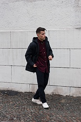Kevin Elezaj - Converse Sneakers, The Kooples Pants, Urban Outfitters Shirt, J. Crew Jacket - Burgundy