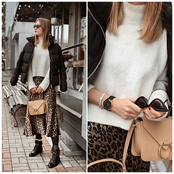 Nastia Poberezhna - And Other Stories White Sweater, Zara Leopard Slip Skirt - Leopard Slip Skirt
