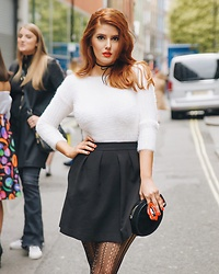 Pixie Cosmina - Fendi White Flufffy Jumper, Zara Black Skirt, Accessorize Black Velvet Clutch Bag, Wolford Lace Tights - LFW