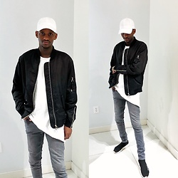 Fred Anyona - Forever 21 Black Bomber Jacket With Silver Detail, Le 31 White Tshirt, Topman Grey Spray On Jeans, Balenciaga Sock Trainers - BACK TO BASIC COLORS